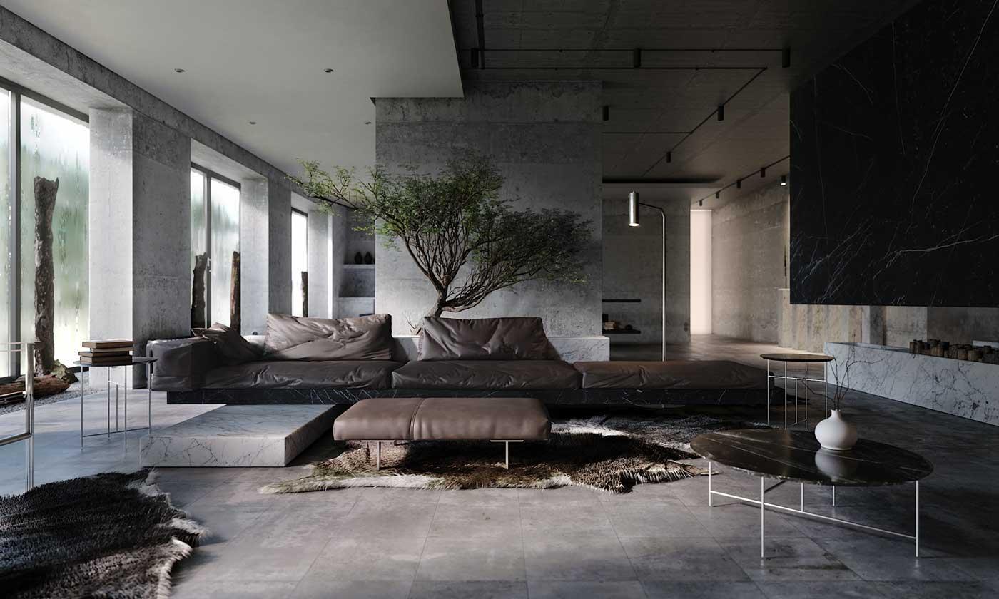 Un arbre d'intérieur apporte une touche de nature à un intérieur composé de béton avec un canapé en cuir