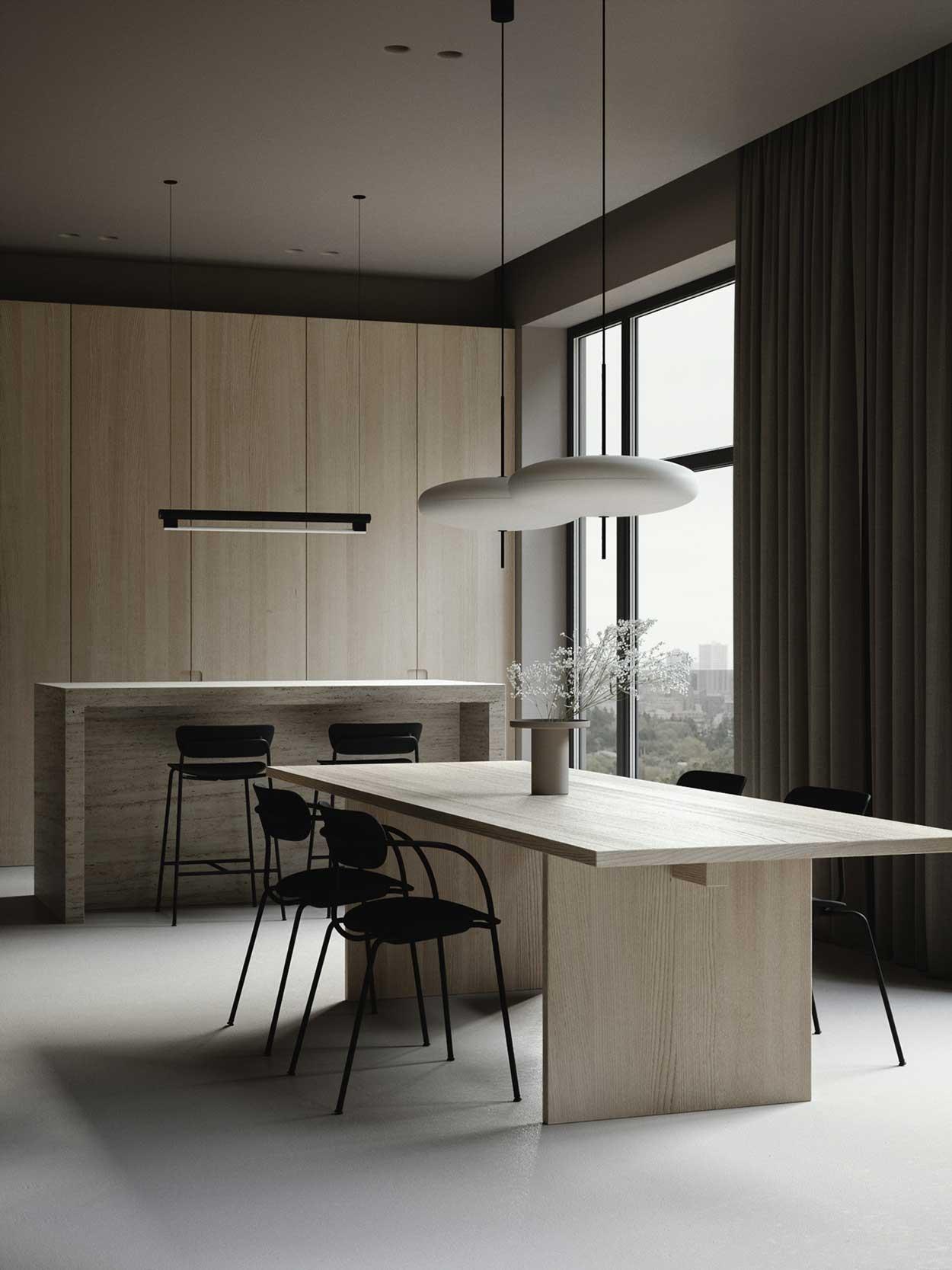 Une salle à manger minimaliste aux couleurs claires et fraîches réchauffées par un rideau