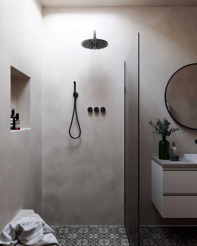 Imperméable, le tadelakt peut recouvrir sans problème les parois de douche
