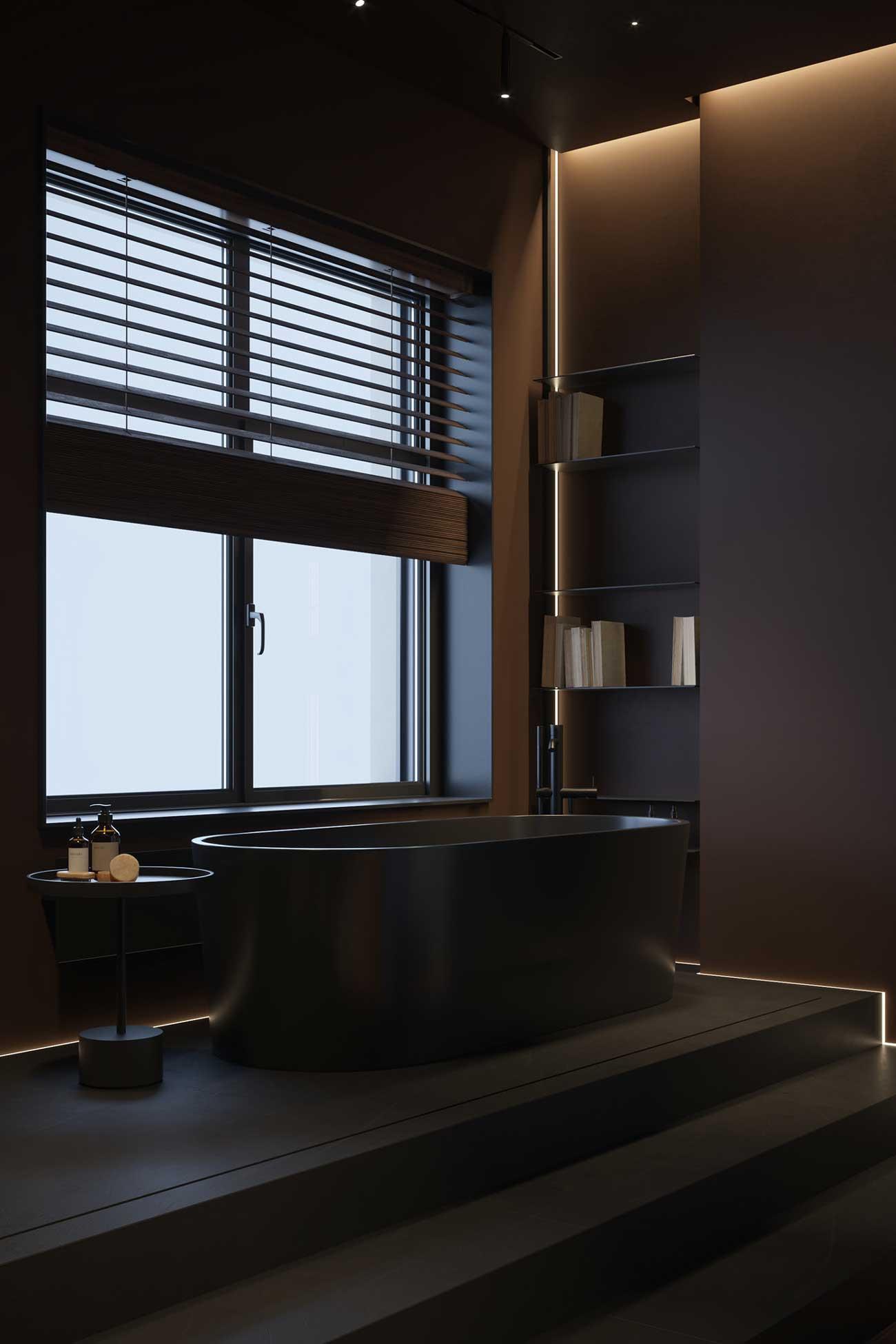 Une salle de bain minimaliste dans le look total black avec des néons