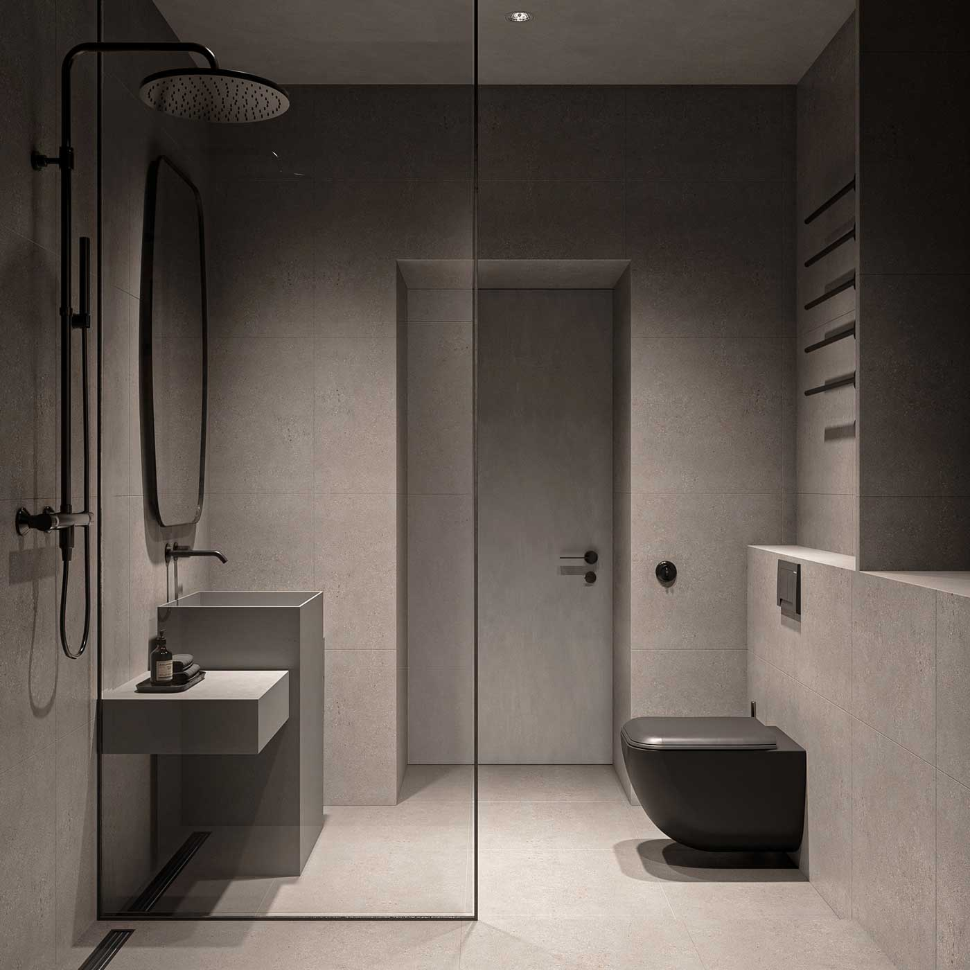 Une salle de bain minimaliste et fonctionnelle qui contient tout le nécessaire avec une douche, un lavabo et des WC