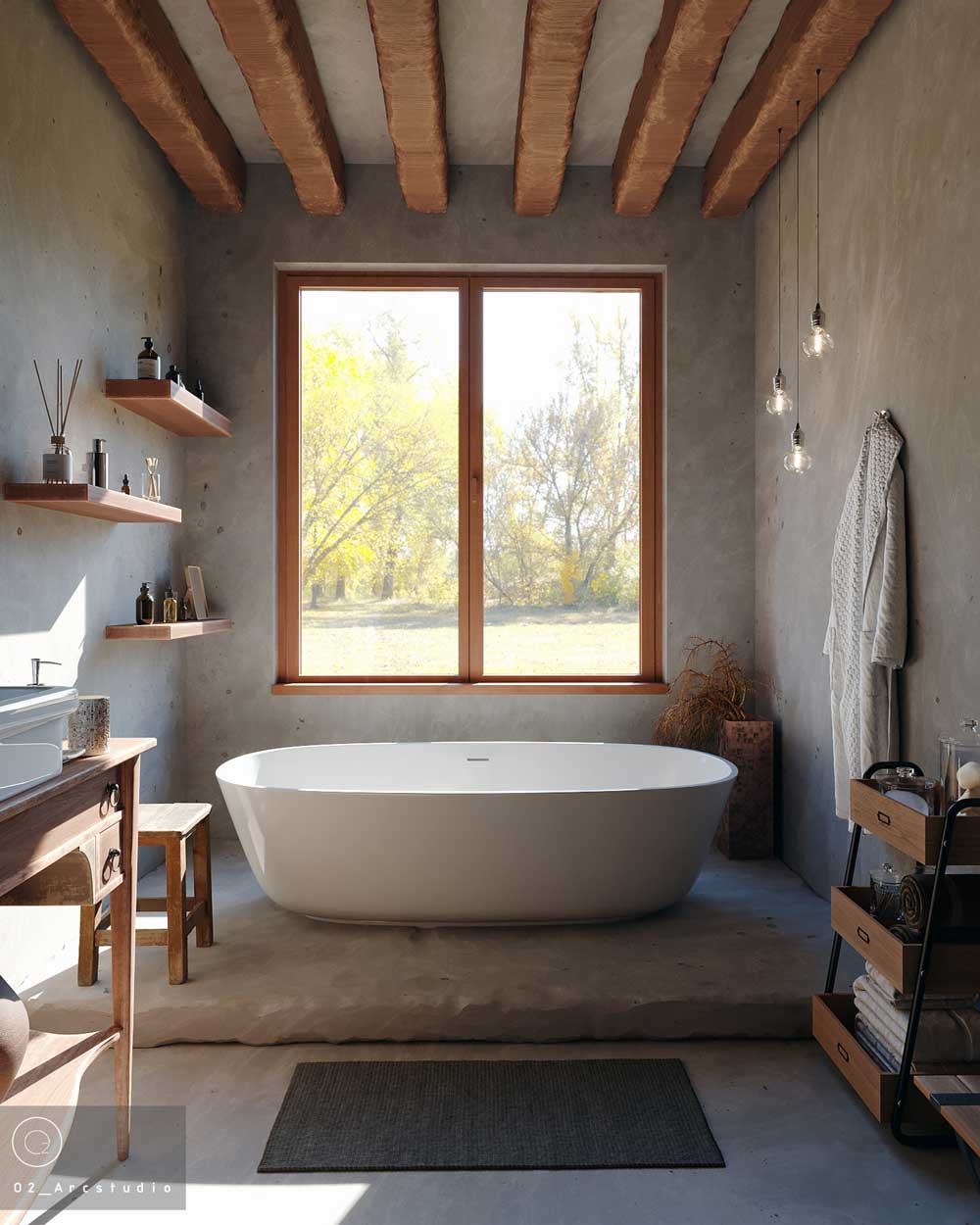 Une salle de bain à l'ambiance douce et apaisante avec des murs en tadelakt, des poutres en bois et une grande fenêtre