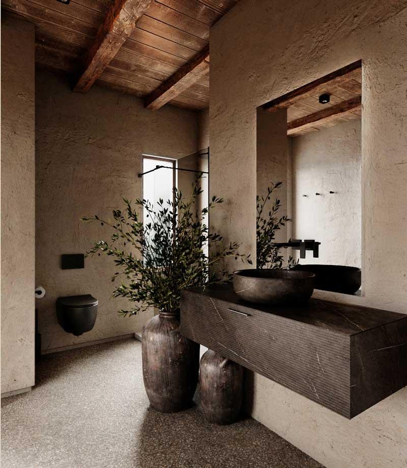 Le tadelakt orne les murs de salle de bain avec ses propriétés d'anti-humidité et antibactériennes