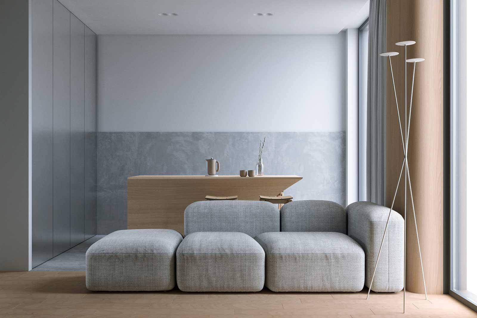 Un salon gris et bois avec un canapé modulable et une table originale