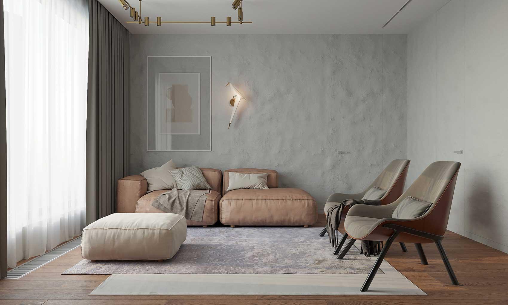 Le tadelakt s'accorde avec des couleurs pastel pour un intérieur contemporain au charme doux