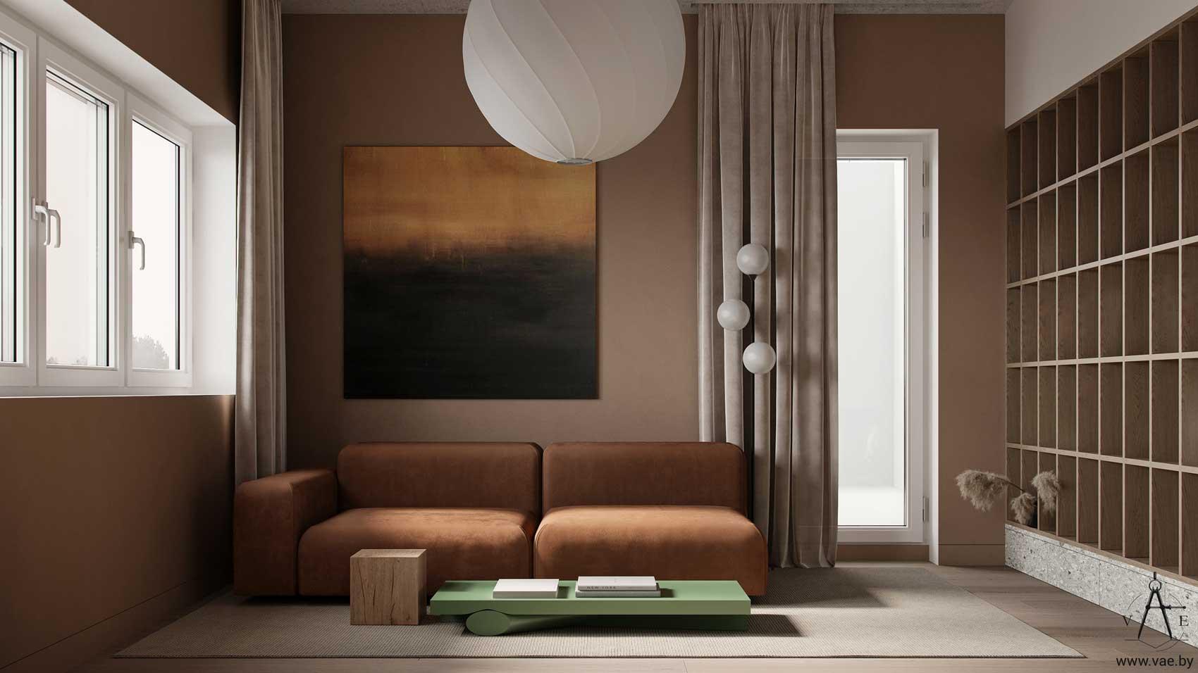 Un salon terracotta avec des étagères shelfie et une pointe de couleur grâce à une table basse verte