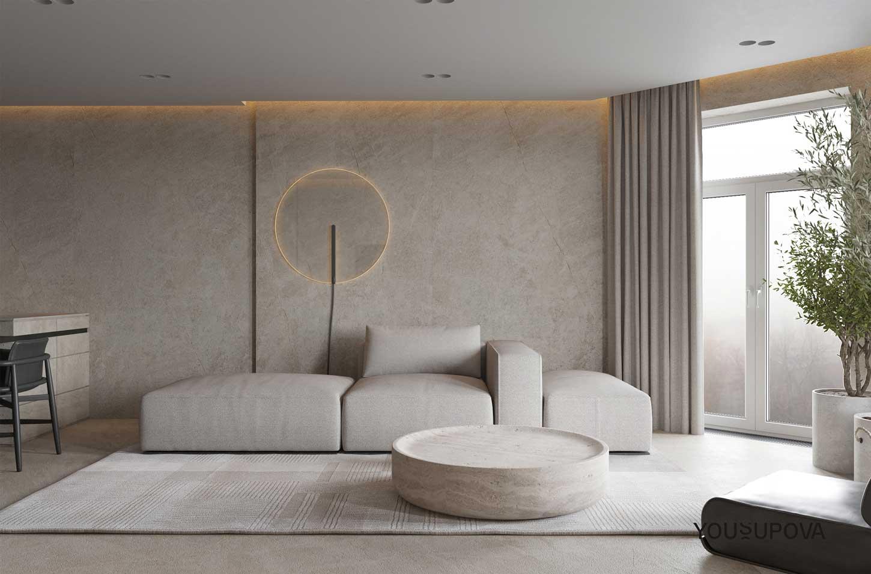Le tadelakt se pose sur les murs du salon pour y apporter de la chaleur et de l'originalité