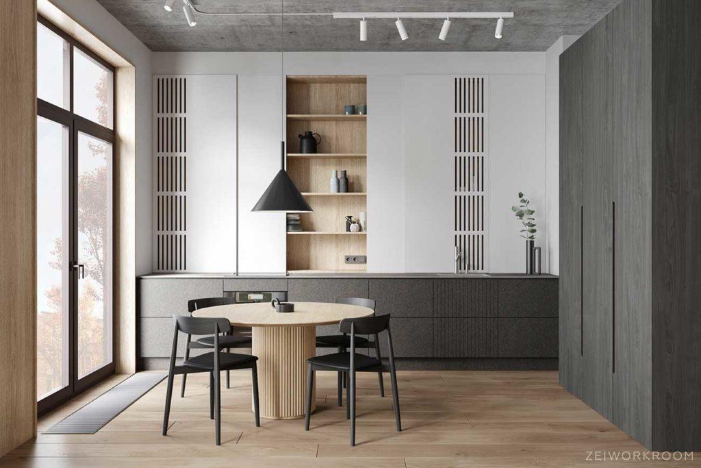 Deux couleurs de bois pour un espace salle à manger tendance et design