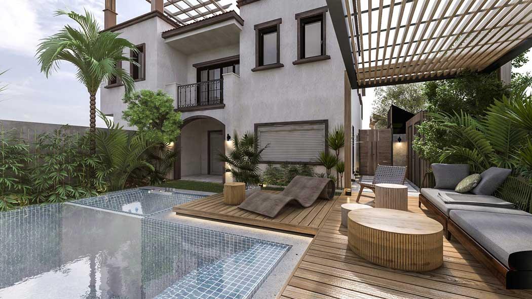 Le mobilier de jardin s'installe au bord de la piscine avec du bois et des formes ondulées pour des moments de détente