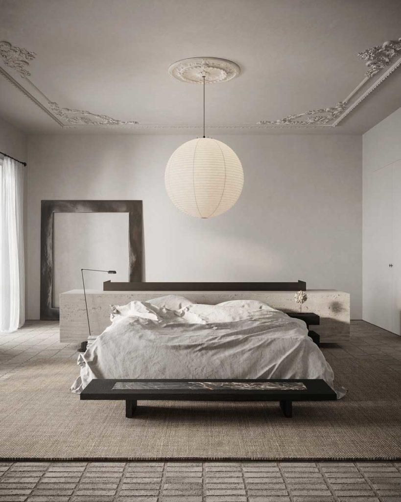 Une tête de lit en travertin dans une grande chambre élégante avec des moulures au plafond