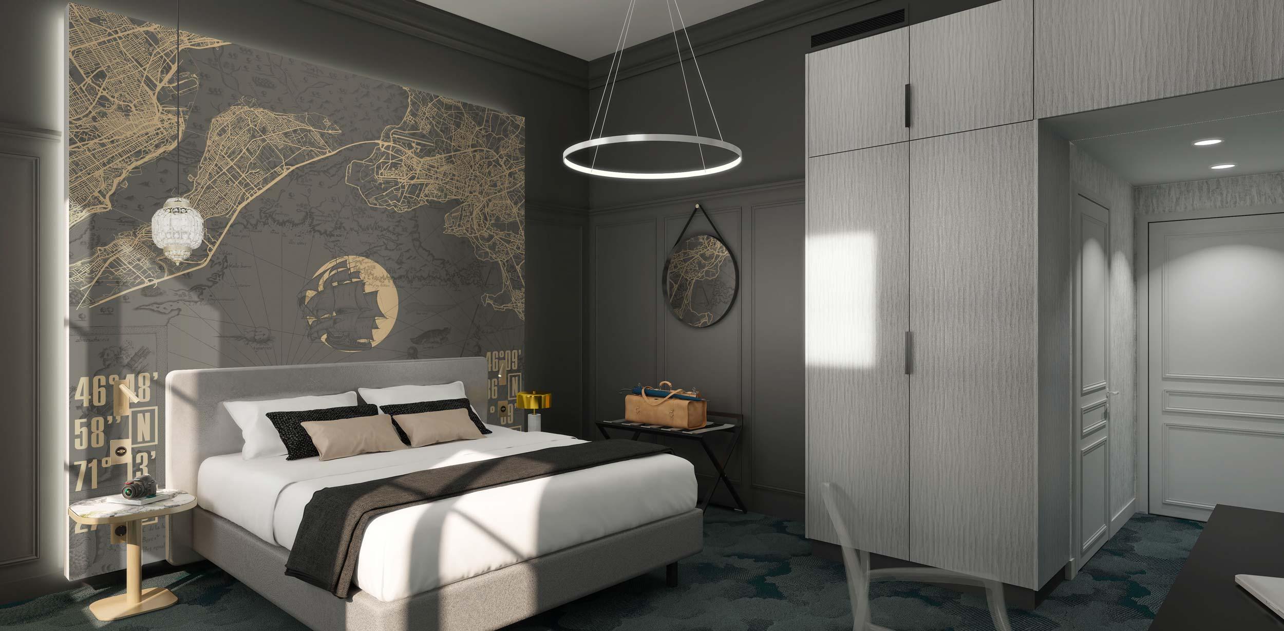 Perspective chambre hôtel Le Champlain à La Rochelle