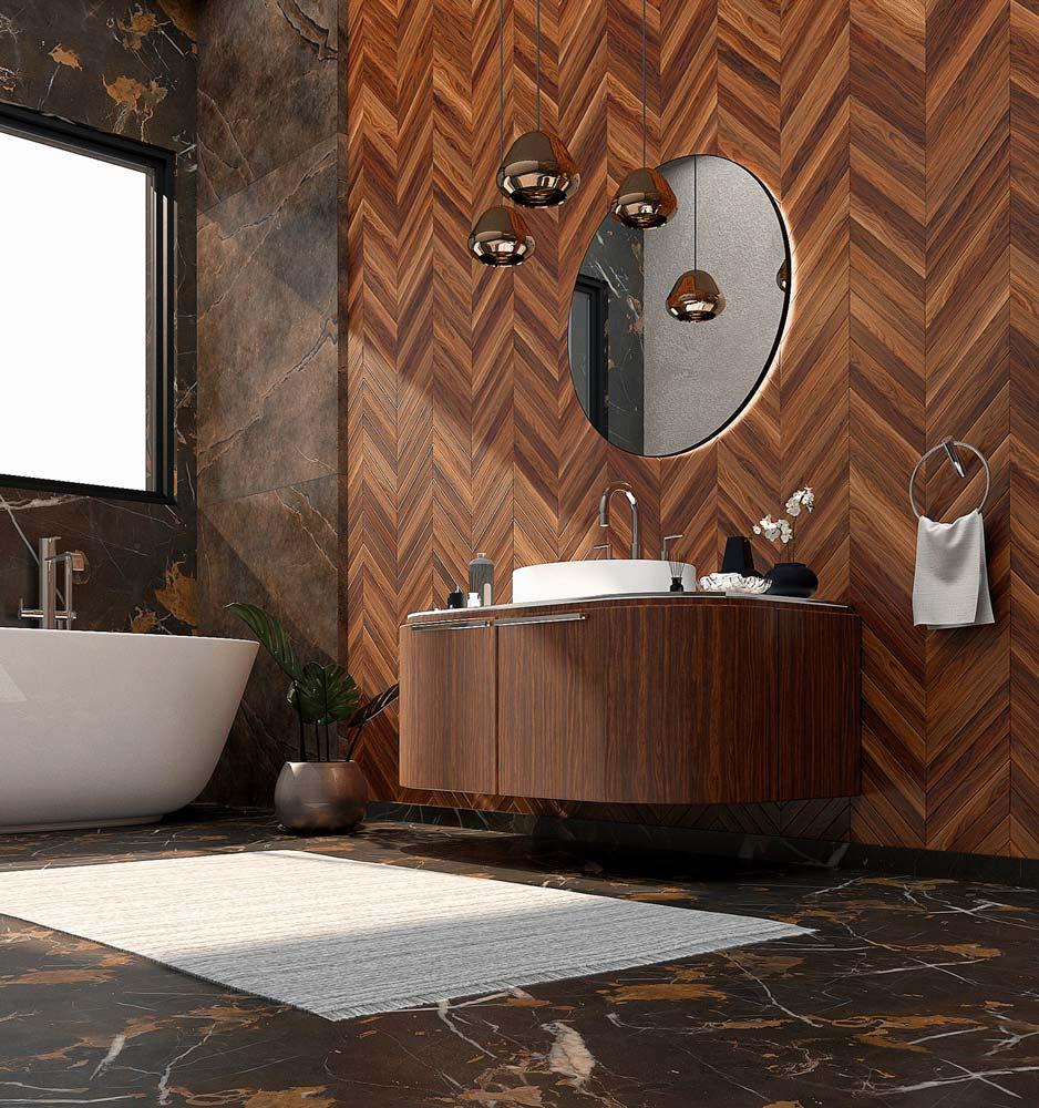 Salle de bain masculine avec un revêtement en pointe de Hongrie massif