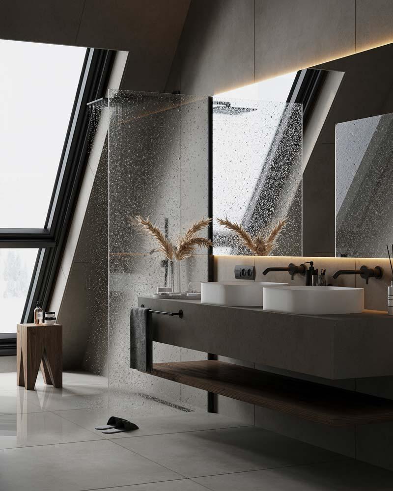 salle de bain masculine et épurée