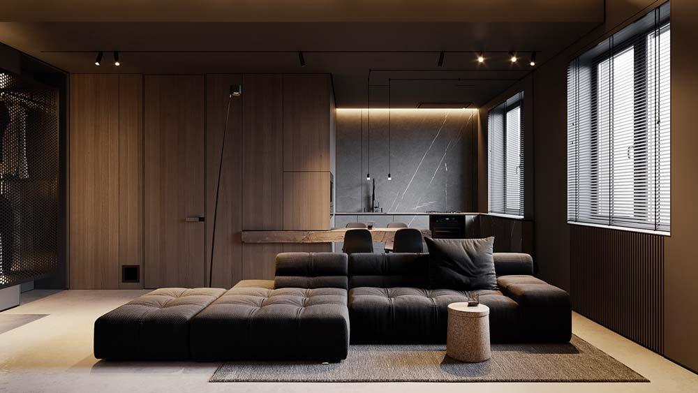 studio minimaliste masculin avec des matières brutes