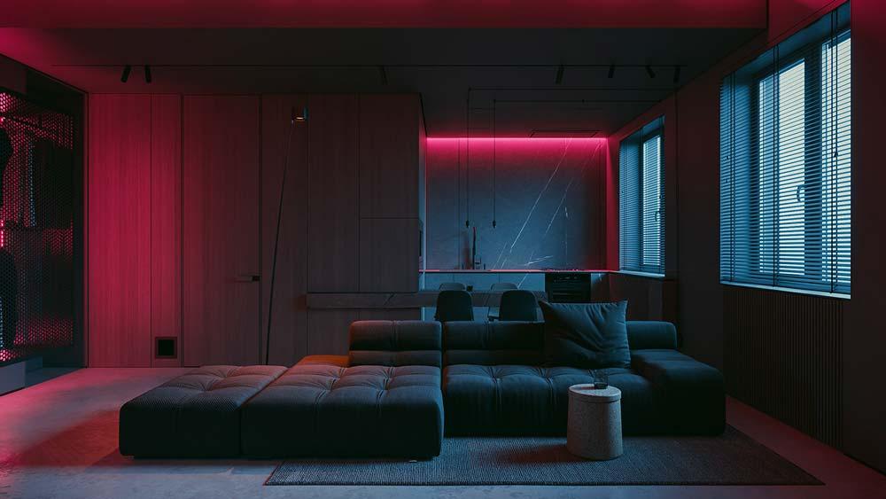 studio minimaliste et masculin éclairé par des néons