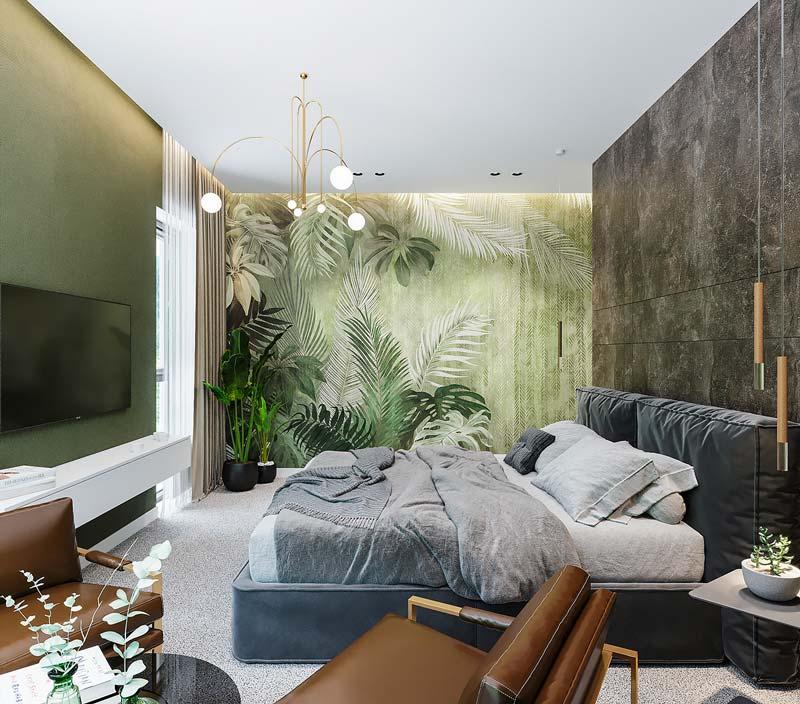 Décorer une chambre cosy et chaleureuse avec une tapisserie aux motifs de feuillages