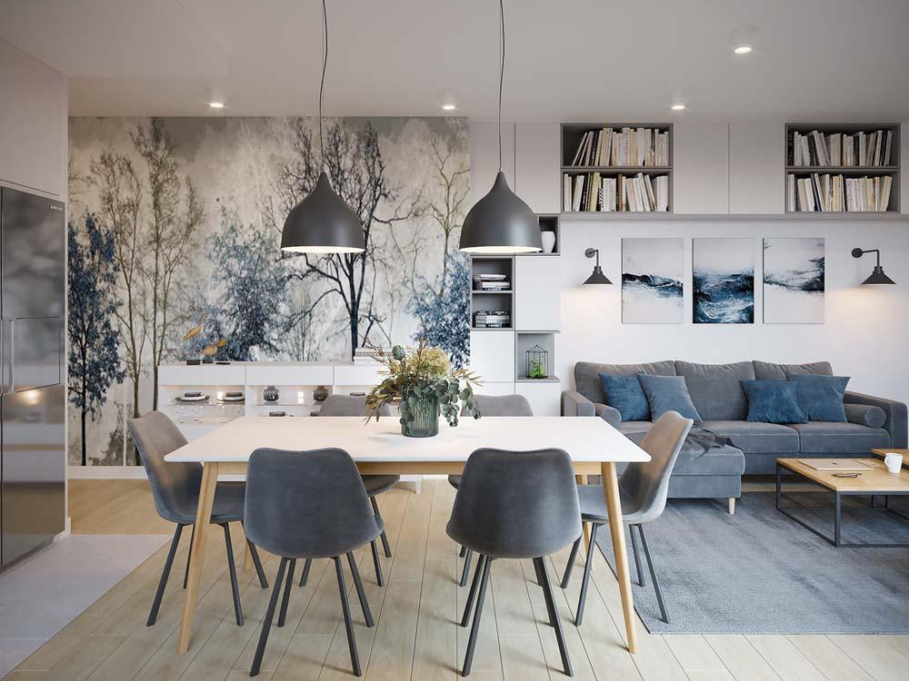 Décoration d'un salon gris et bleu avec une tapisserie panoramique d'une forêt bleue