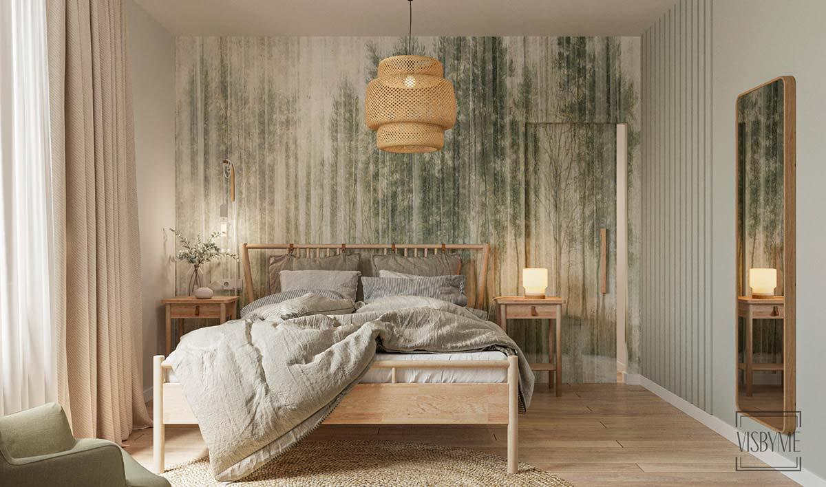 Décoration chambre boho avec du mobilier en bois blond et un papier peint panoramique