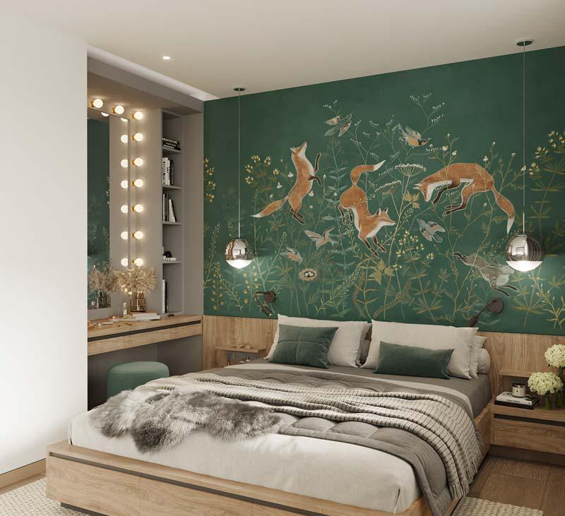 Tête de lit en papier peint XXL avec des renards dans une chambre
