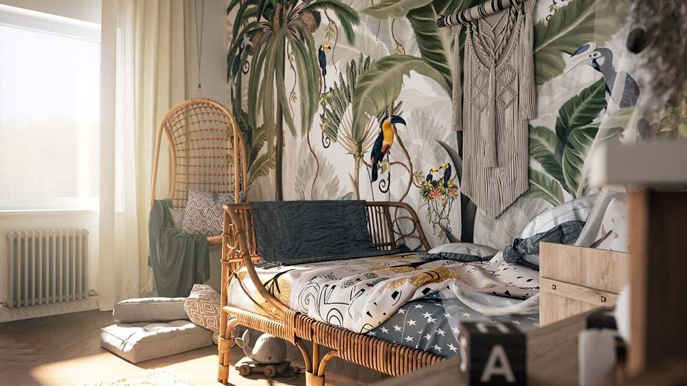 Une papier peint panoramique de la jungle et ses animaux dans une chambre enfant
