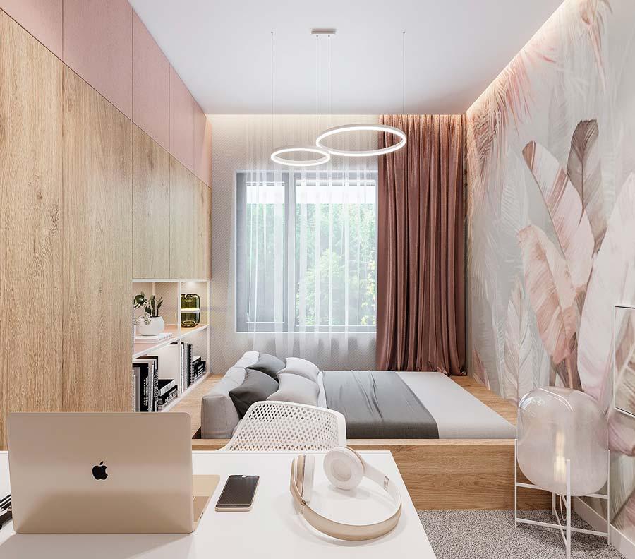 Un papier peint panoramique rose poudrée et gris dans une chambre girly