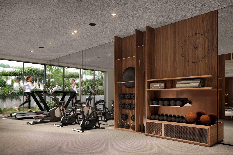 Une salle de fitness dans un sous-sol