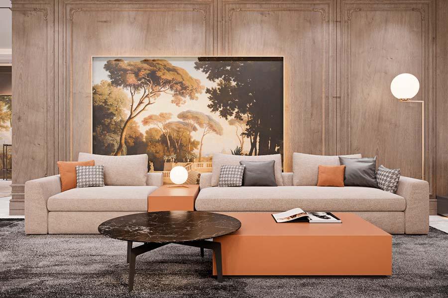 Décoration d'un salon design gris avec des moulures et une tapisserie panoramique sur mesure