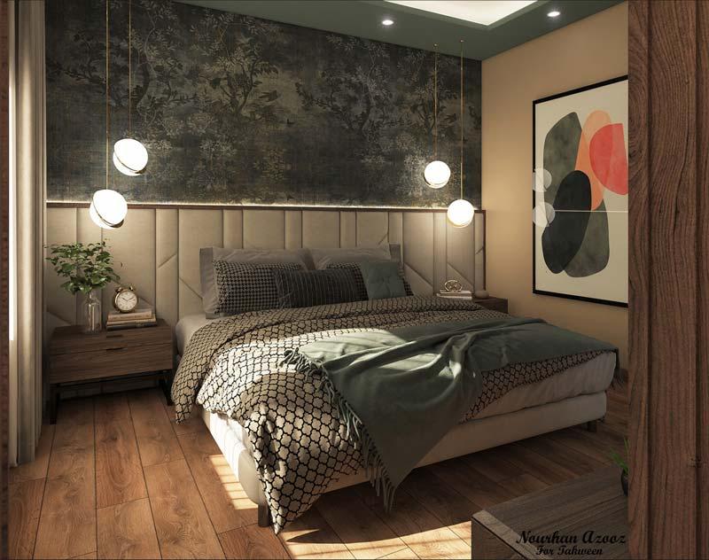 Une tête de lit en papier peint panoramique dramatique noire