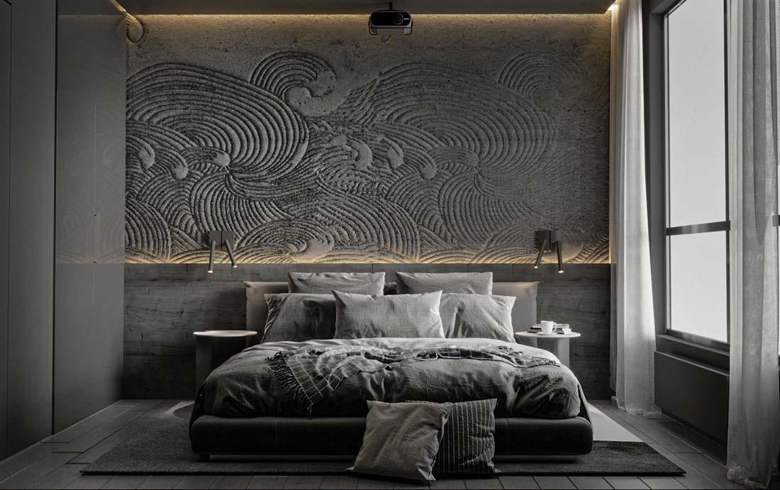 Une chambre décorée en noire avec un mur tête de lit en tapisserie panoramique capitonnée