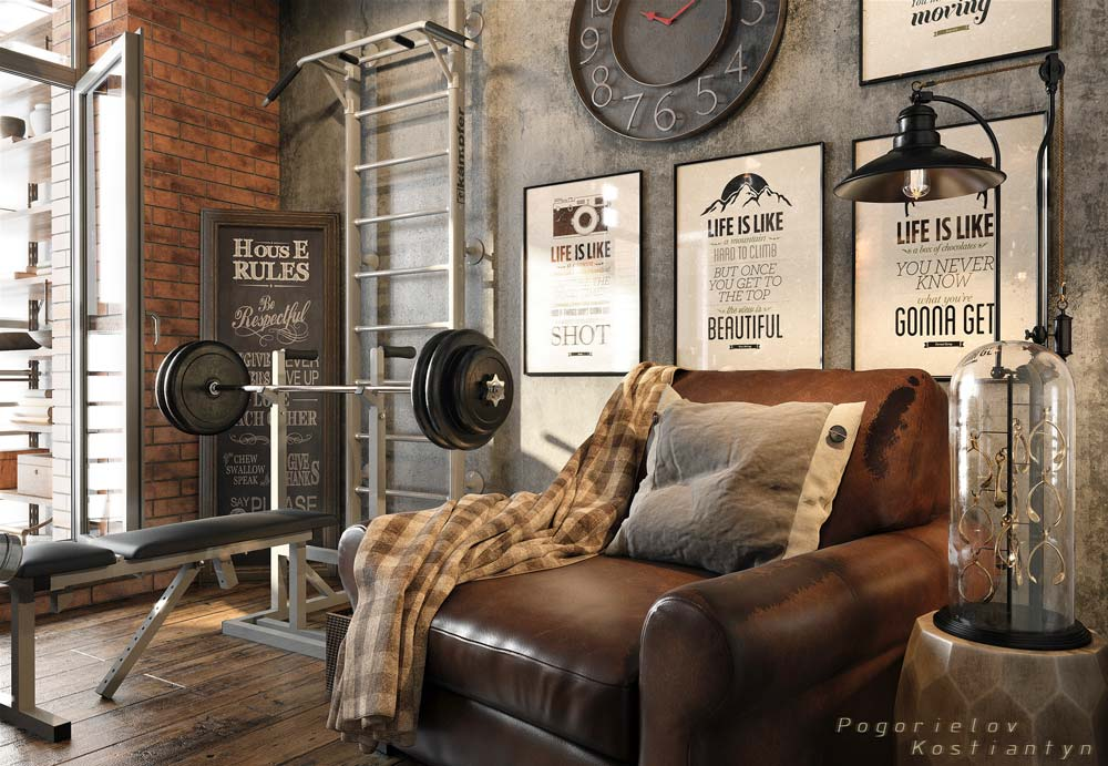 Un coin musculation dans un studio industriel et grunge