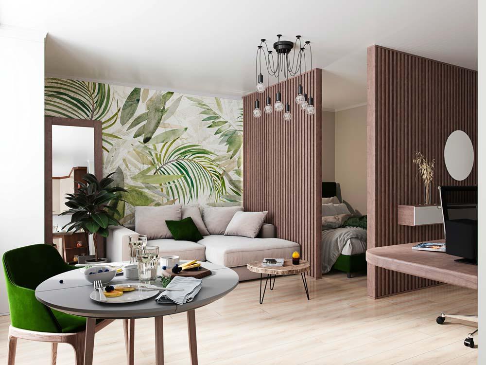 Un petit studio décoré avec. du bois, des couleurs naturelles et une tapisserie panoramique