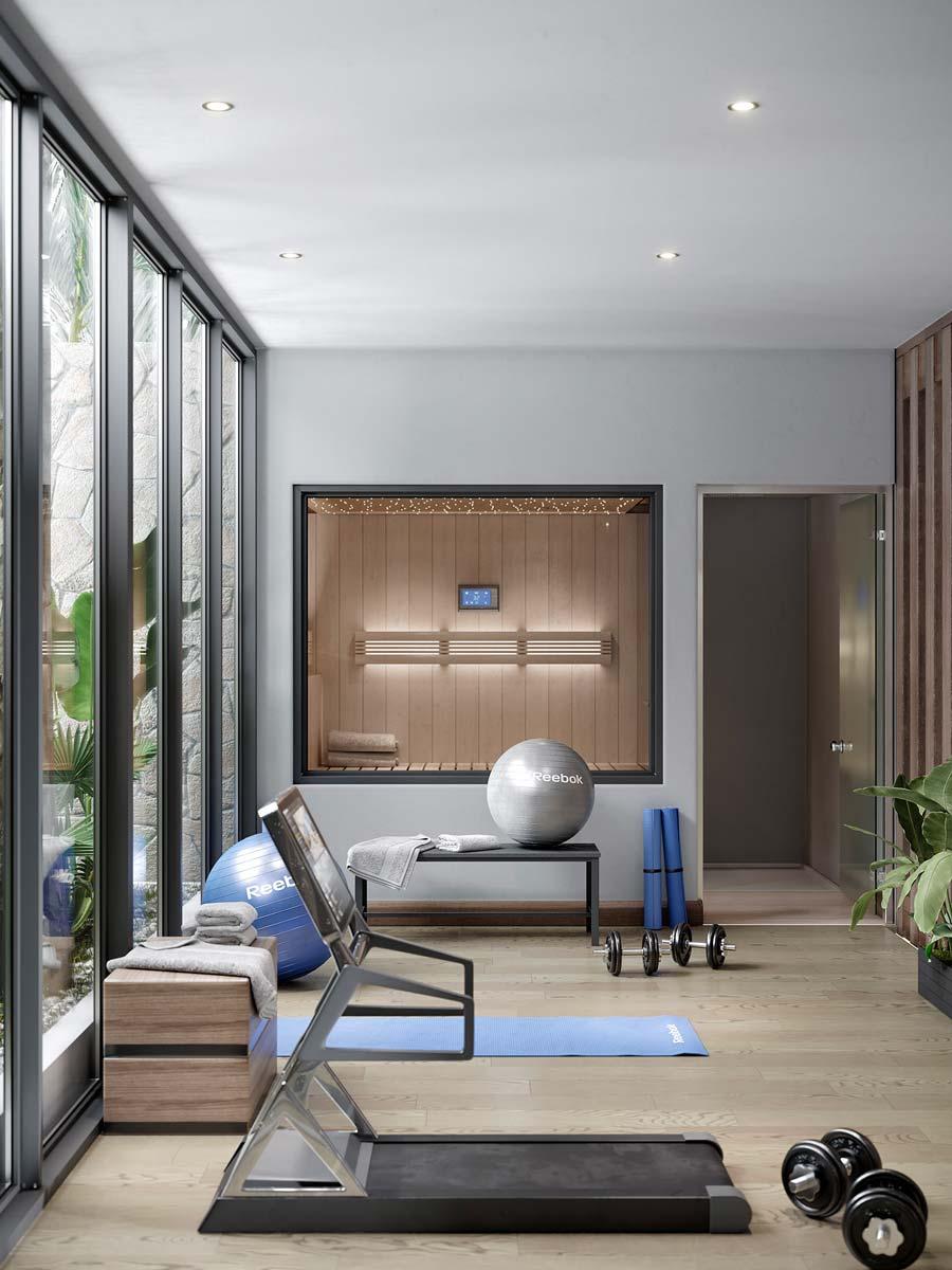 Une salle de sport et sauna à domicile