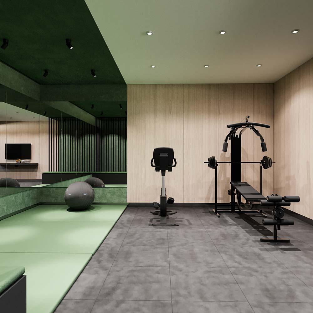 Une salle de sport et de musculation dans un sous-sol