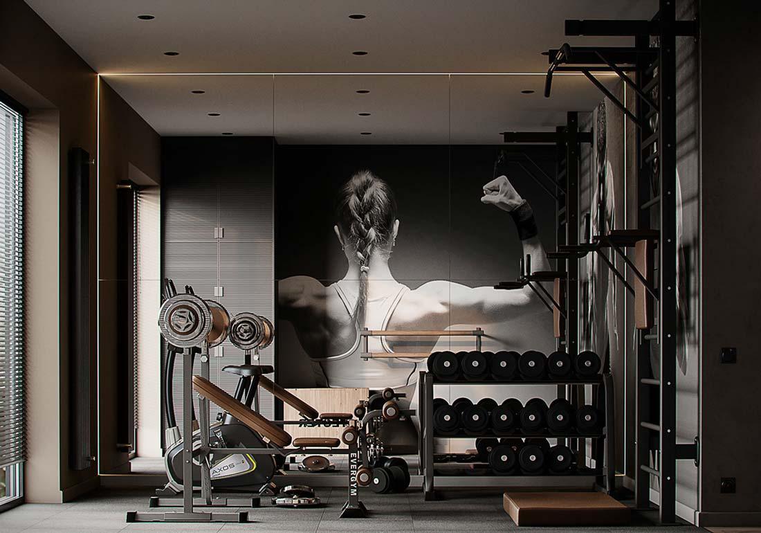Une salle de sport à domicile dans un style industriel
