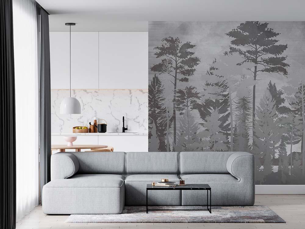 Papier peint panoramique noir et blanc avec des arbres