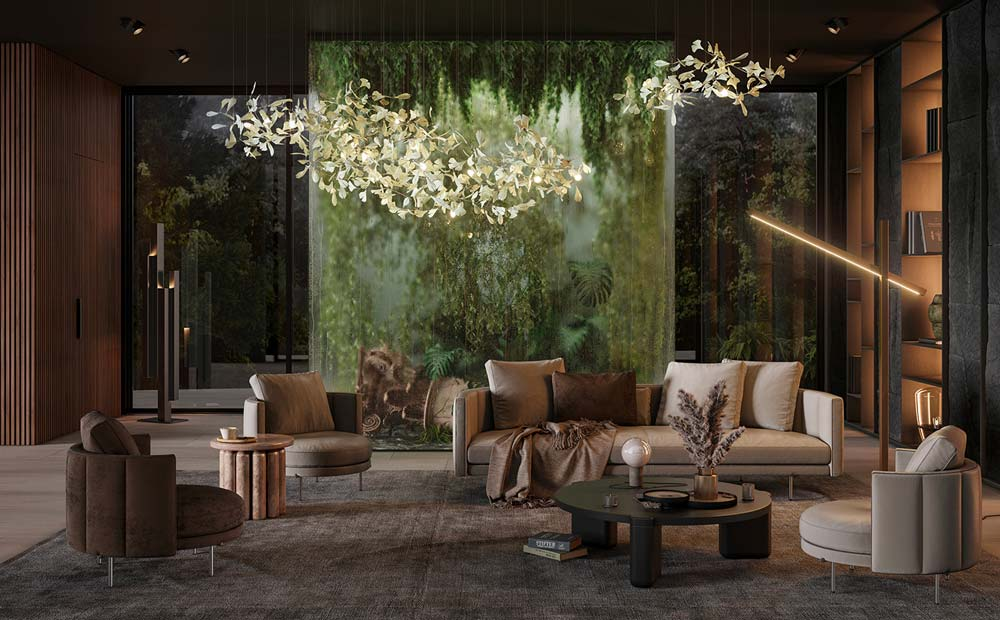 Un salon ultra design avec une serre intérieure