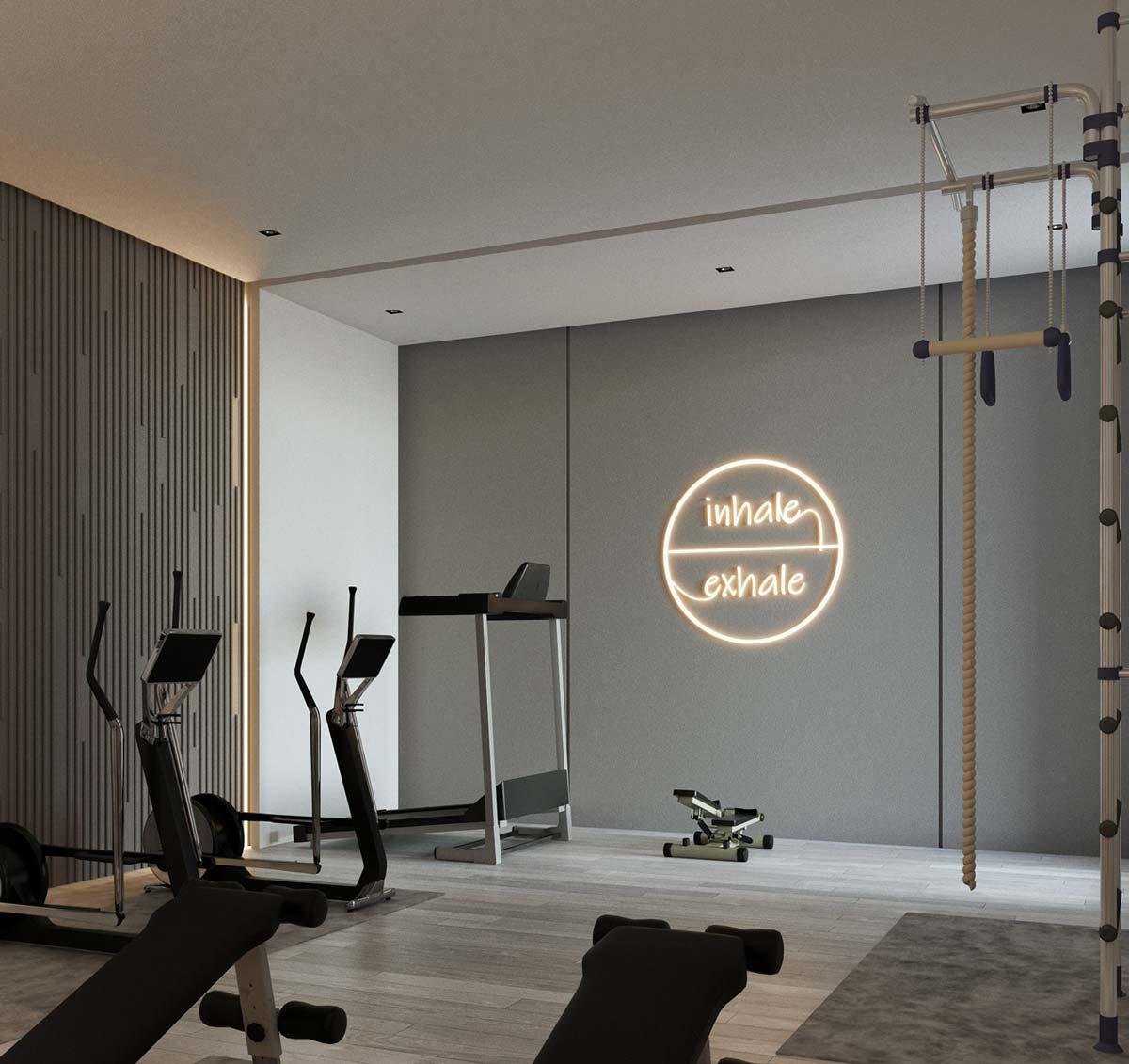 une salle de sport dans une chambre non occupée d'un appartement