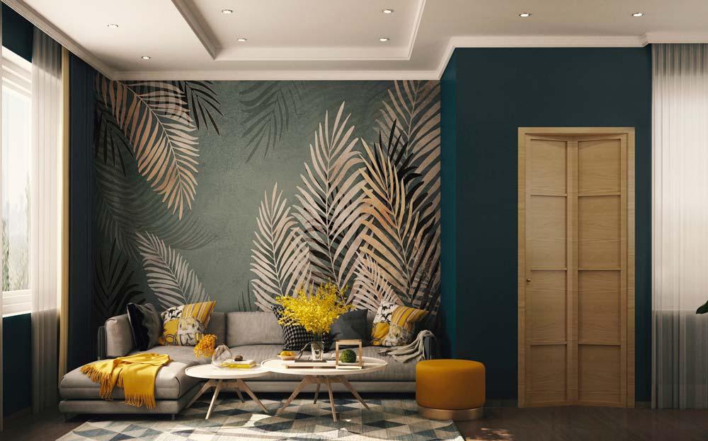 salon avec un renfoncement habillé par une papier peint panoramique avec des feuilles