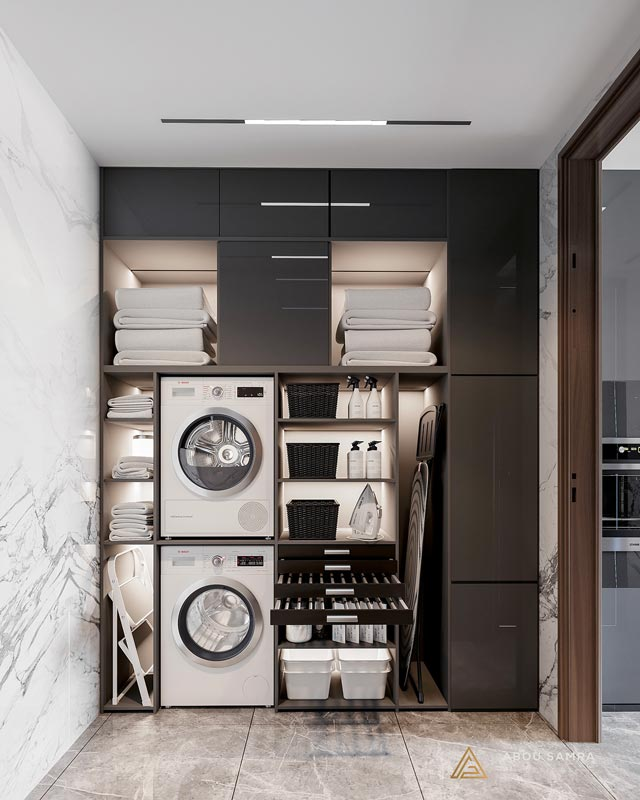Aménager une buanderie chic, noire et blanche, dans une arrière cuisine