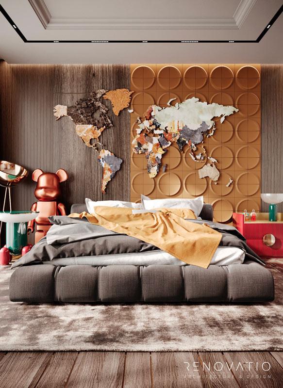 Une chambre d'enfant pop art avec un bearbrick géant cuivré