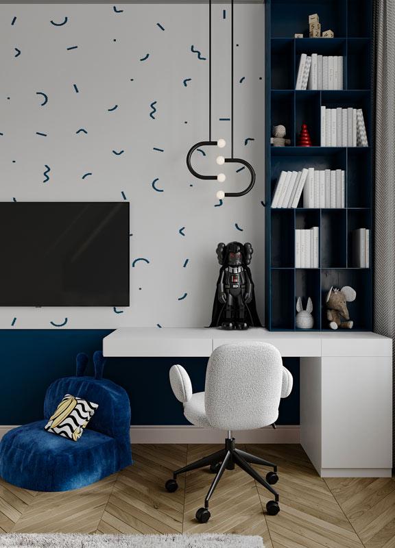Une chambre d'enfant blanche et bleu décorée d'un art toys star Wars