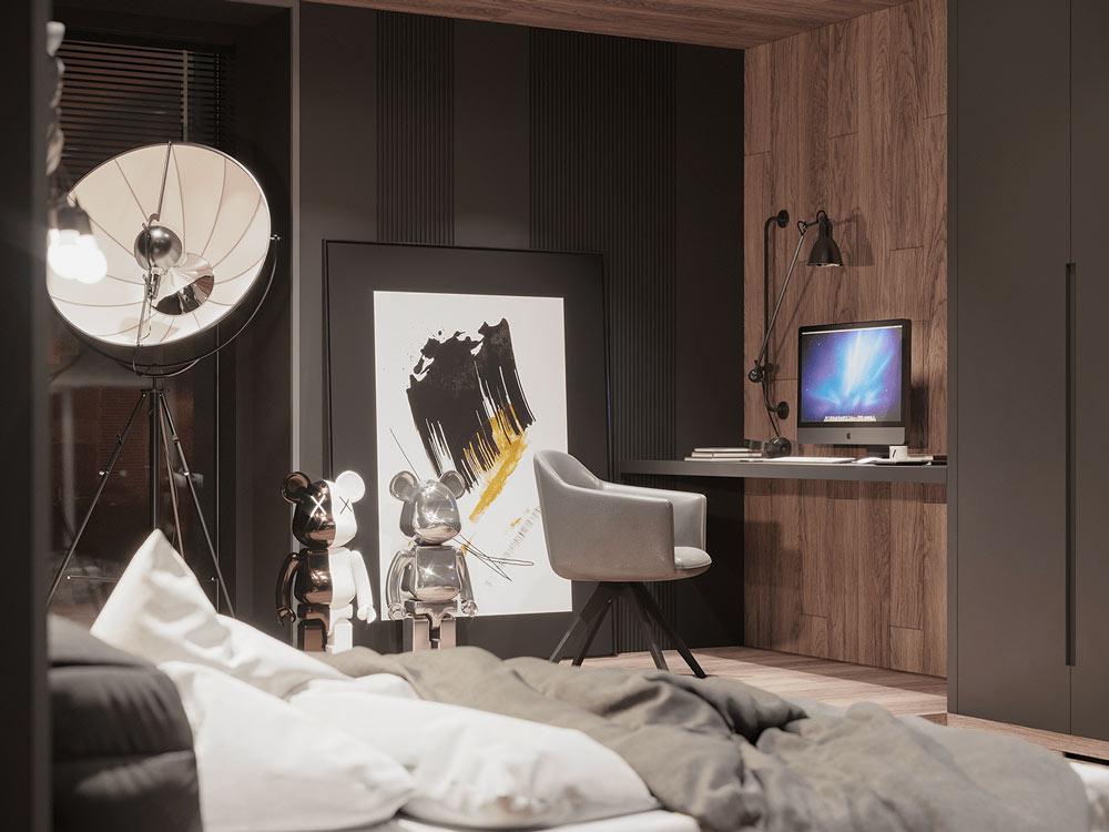 Une chambre noire avec un bardage en bois et des art toys bearbrick comme décoration