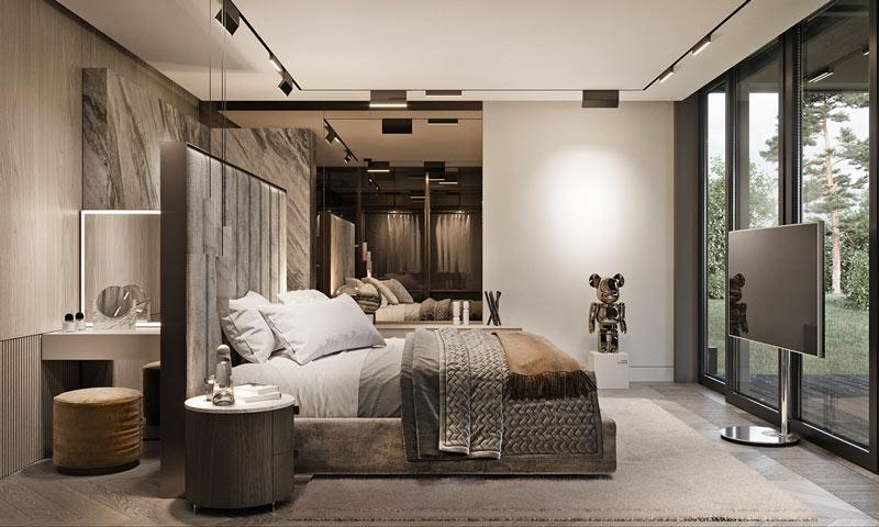 Une chambre luxueuse exposant un bearbrick chromé