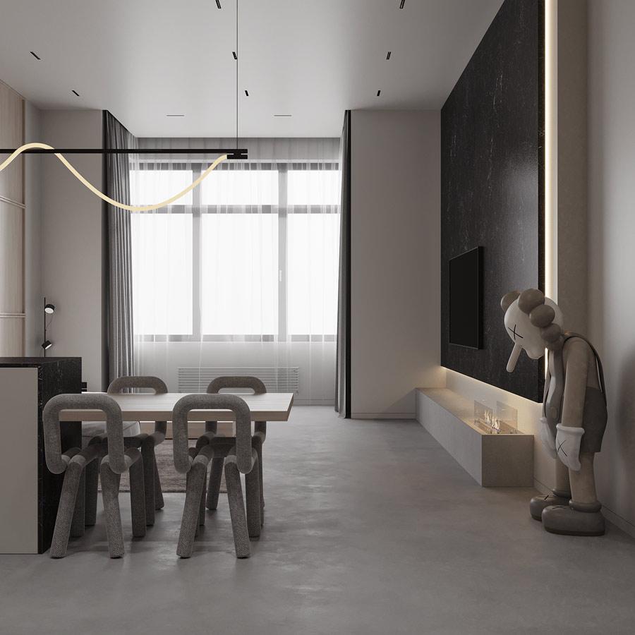 Un salon minimaliste et chic avec un companion small lie