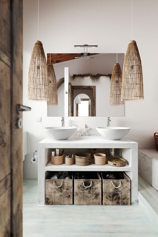 Une salle de bain blanche ethnique avec des suspension en osier