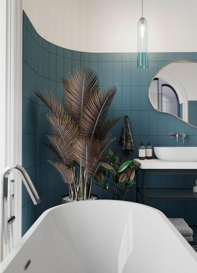 Une salle de bain bleu ciel