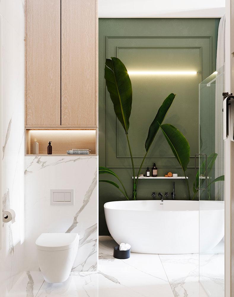 Une salle de bain kaki et un sol en marbre blanc