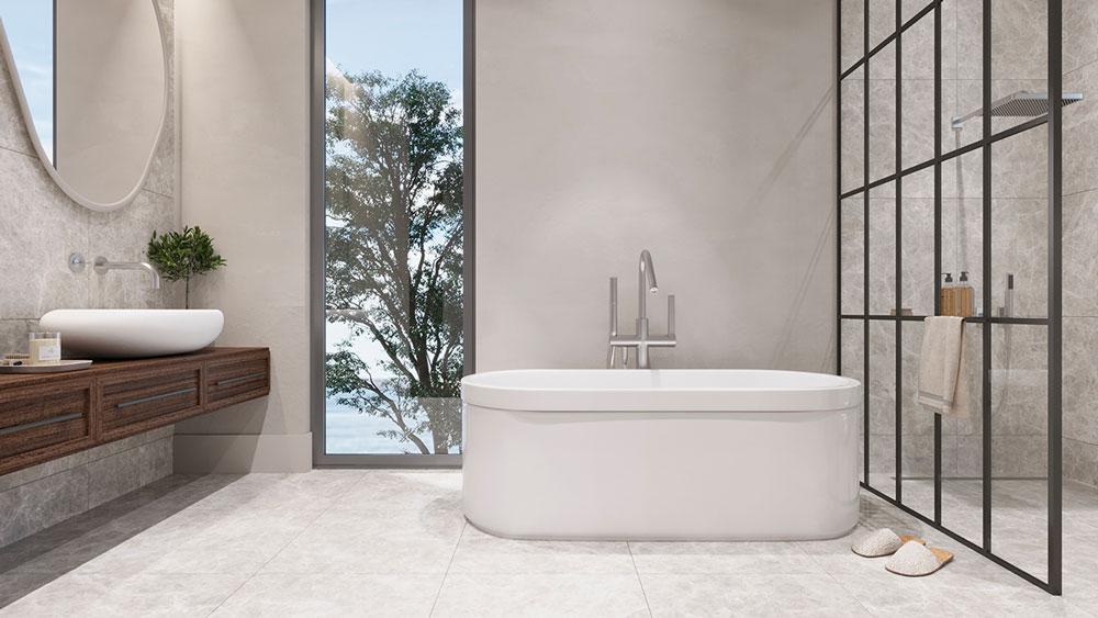 Une salle de bain style bord de mer blanche avec un meuble en bois foncé
