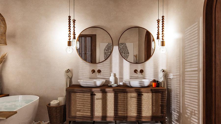 Une salle de bain japandi avec du mobilier en osier et un mur en tadelakt
