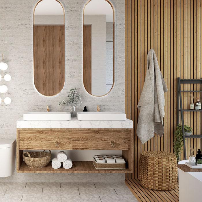 Une salle de bain japandi avec du bois naturel et du mobilier design